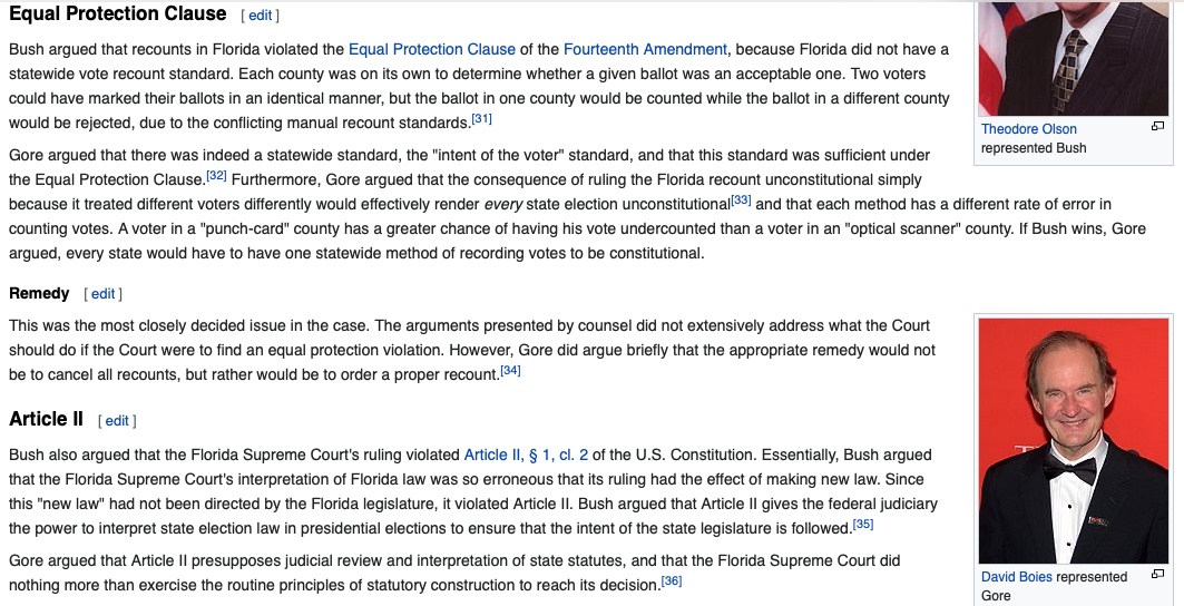 Screen shot of Equal Protection Clause and Article II Arguments in Bush v. Gore