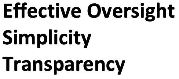 Effective Oversight, Simplicity, Transparency Picture