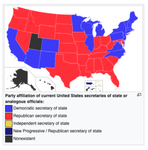 Screen Shot of Political Party of Secretaries of State - with yellow being Independent.
